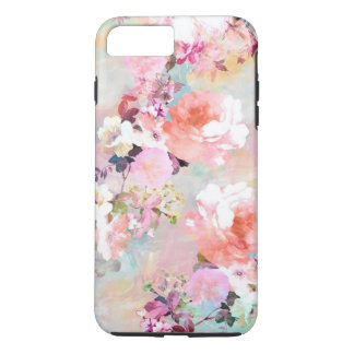 Romantic Pink Teal Watercolor Chic Floral Pattern iPhone 8 Plus/7 Plus Case