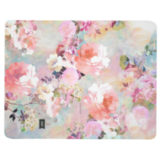 Romantic Pink Teal Watercolor Chic Floral Pattern Journals