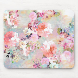 Romantic Pink Teal Watercolor Chic Floral Pattern Mouse Pad
