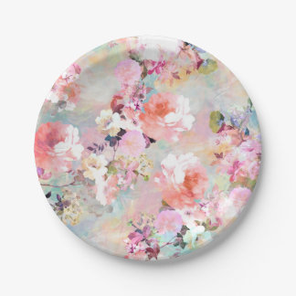 Romantic Pink Teal Watercolor Chic Floral Pattern Paper Plate