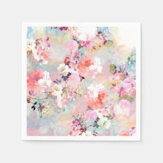 Romantic Pink Teal Watercolor Chic Floral Pattern Paper Serviettes