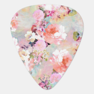 Romantic Pink Teal Watercolor Chic Floral Pattern Plectrum