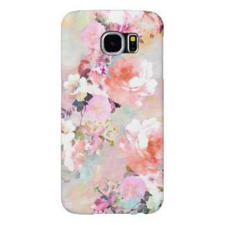 Romantic Pink Teal Watercolor Chic Floral Pattern Samsung Galaxy S6 Cases