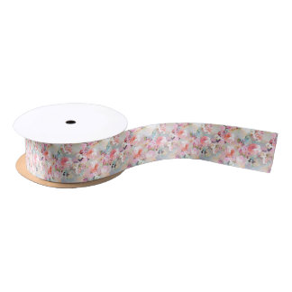 Romantic Pink Teal Watercolor Chic Floral Pattern Satin Ribbon