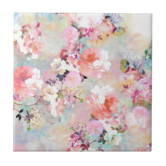Romantic Pink Teal Watercolor Chic Floral Pattern Small Square Tile