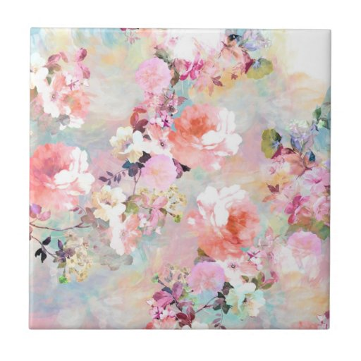 Romantic Pink Teal Watercolor Chic Floral Pattern Ceramic Tile