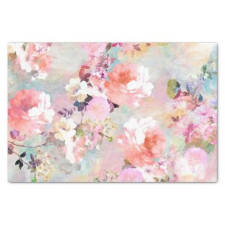 Romantic Pink Teal Watercolor Chic Floral Pattern Tissue Paper