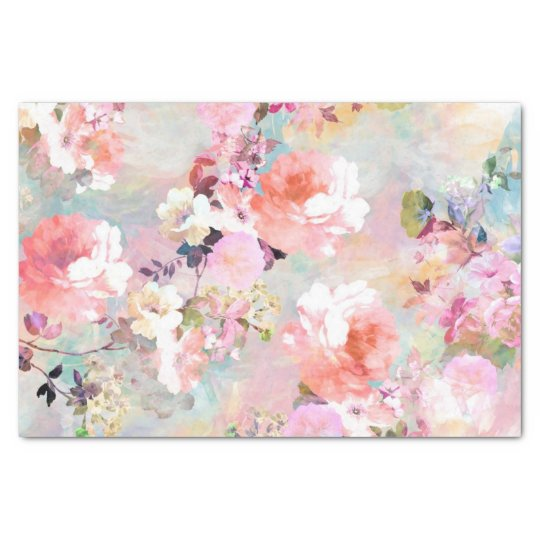 Romantic Pink Teal Watercolor Chic Floral Pattern Tissue