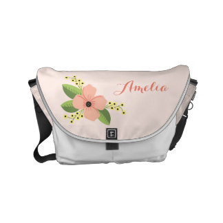 Romantic Pink Tropical Flower Floral Courier Bags