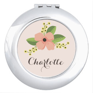 Romantic Pink Tropical Flower Floral Makeup Mirror
