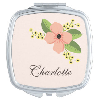 Romantic Pink Tropical Flower Floral Makeup Mirrors