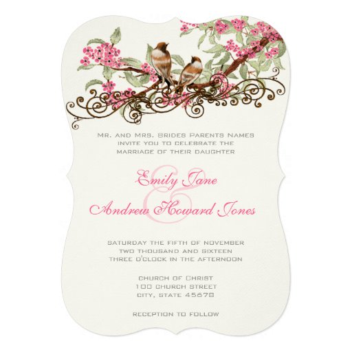 Romantic Pink  Vintage Lovebirds Personalized Invitations