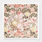 Romantic pink vintage rose flower pattern paper napkin