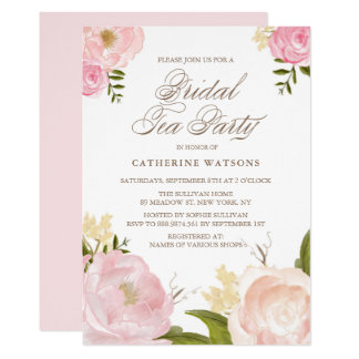Romantic Pink Watercolor Flowers Bridal Tea Party Card