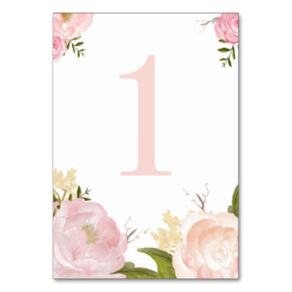 Romantic Pink Watercolor Flowers Table Number 1