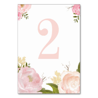 Romantic Pink Watercolor Flowers Table Number 2