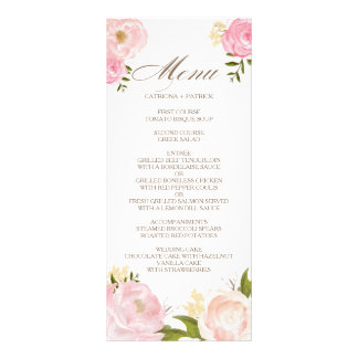 Romantic Pink Watercolor Flowers Wedding Menu Card Rack Card Design