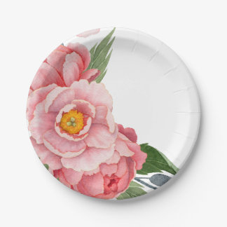 Romantic Pink Watercolor Peonies Floral 7 Inch Paper Plate