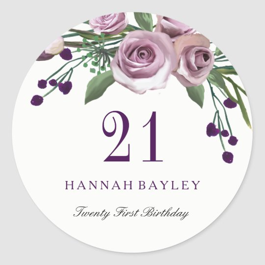 Romantic Plum Purple Rose Floral 21st Birthday Classic