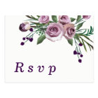 Romantic Plum Purple Rose Floral Wedding RSVP Postcard