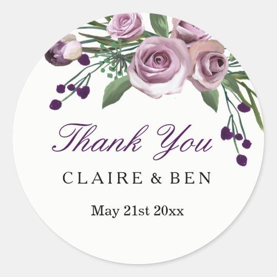 Romantic Plum Purple Rose Floral Wedding Thank you Round Sticker