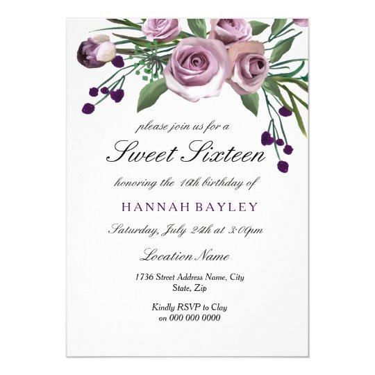 Romantic Plum Purple Rose Sweet 16 Invitation