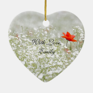 Romantic Poppy Flower Red White Meadow Nature Christmas Ornament