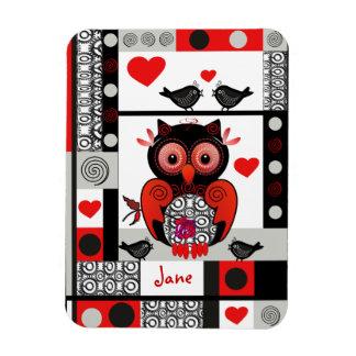 Romantic premium magnet with owl, lovebirds & name
