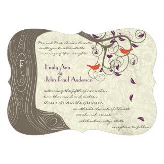 Romantic Purple and Coral Rustic Tree Lovebird Custom Invites