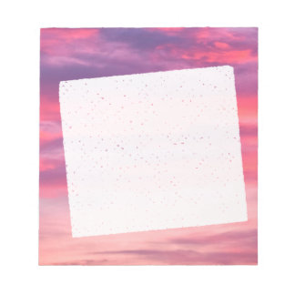 Romantic purple and pink sky with white clouds notepad
