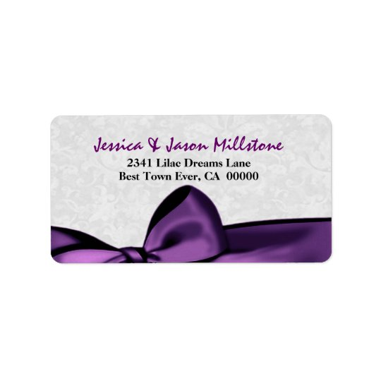 Romantic Purple Bow Wedding Label Address Label