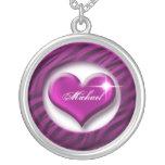 Romantic purple heart love valentine gift round pendant necklace