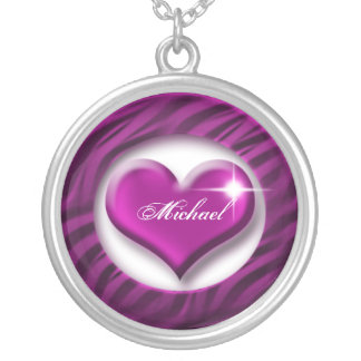 Romantic purple heart love valentine gift silver plated necklace