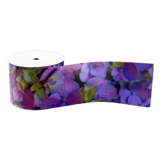 Romantic purple hydrangeas grosgrain ribbon