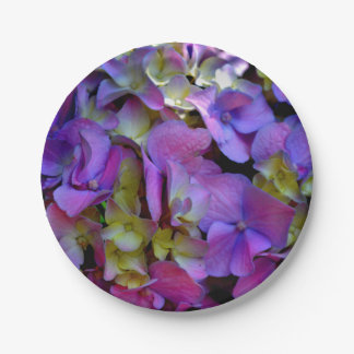 Romantic Purple Hydrangeas Paper Plate