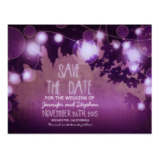 romantic purple night lights vintage save the date postcard