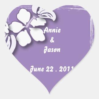 Romantic Purple Passion Flower Beach Wedding Heart Sticker