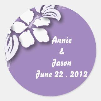 Romantic Purple Passion Flower Beach Wedding Round Sticker