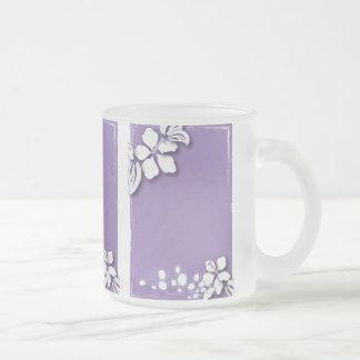 Romantic Purple Passion Flower Wedding Favor Frosted Glass Mug