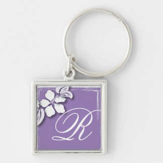Romantic Purple Passion Flower Wedding Favor Silver-Colored Square Key Ring