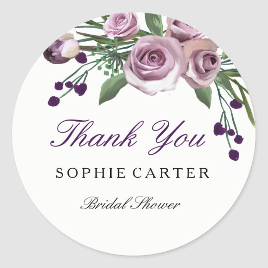 Romantic Purple Rose Bridal Shower Thank you Round Sticker