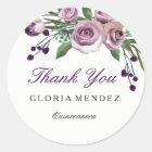 Romantic Purple Rose Quinceanera Thank you sticker