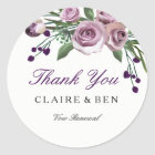 Romantic Purple Rose Vow renewal Thank you sticker