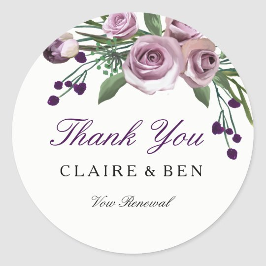 Romantic Purple Rose Vow renewal Thank you sticker