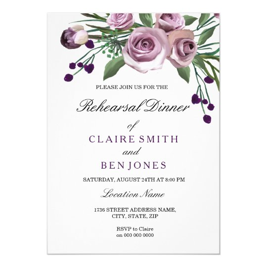 Romantic Purple Rose Wedding Rehearsal Dinner Card