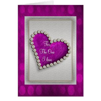 Romantic purple silver diamond heart greeting card