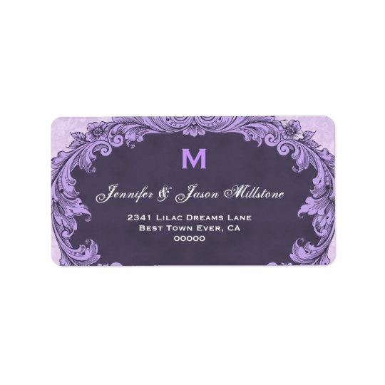 Romantic Purple Vintage Monogram Address Label