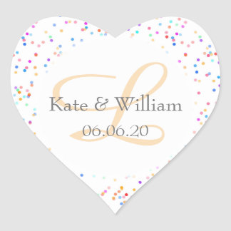 Romantic Rainbow Confetti Names and Wedding Date Heart Sticker