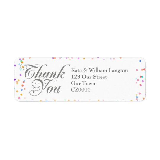 Romantic Rainbow Confetti Wedding Thank You