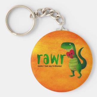 Romantic RAWR T-rex Dinosaur Basic Round Button Key Ring
